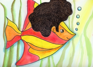 """""""Rainbow Fish Grows an Afro"""" by Unicia R. Buster"""
