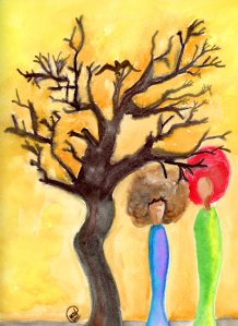 """Afro Friends Chat by a Dying Tree"" by Unicia R. Buster"