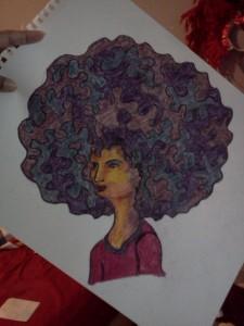 Original drawing with fabric crayons.