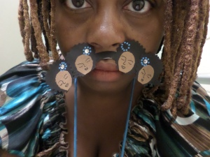 Close-up of me wearing my Afro mustache.